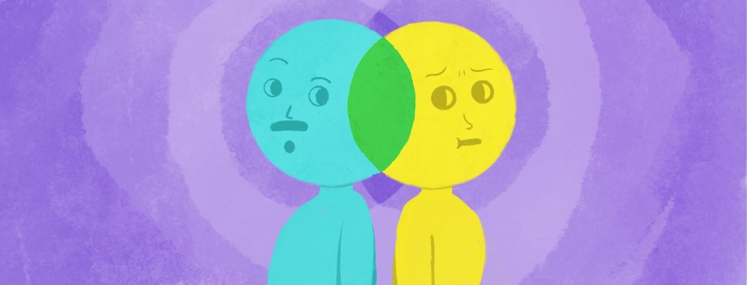two people standing back to back and their heads are overlapping venn diagrams