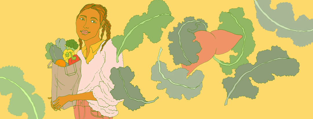 a woman holds a grocery with healthy produce as over-sized leaves of kale swirl around her and a liver
