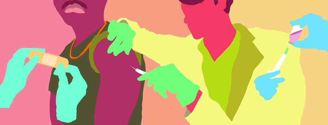 color block shapes of a doctor administering a vaccine in an arm