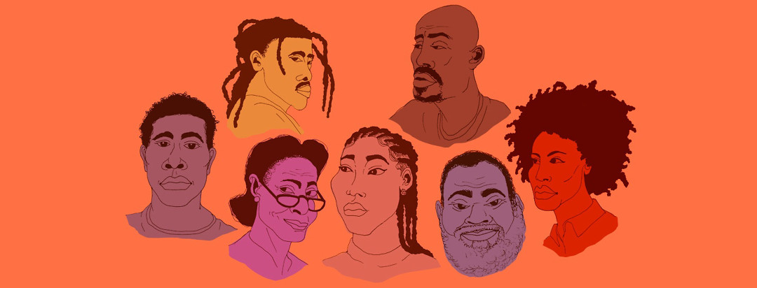 a collection of varying African American portraits in an orange color palette