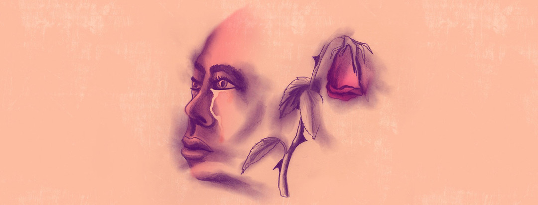 a smokey faded image of a woman ruin with a single wilting rose