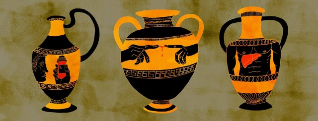 ancient Greek urns with images of myths about hep c