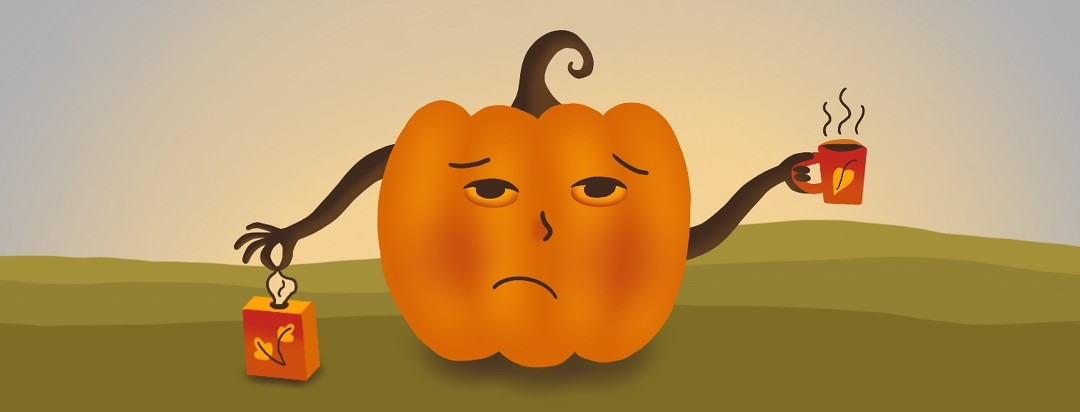 Sickly jack-o-lantern is sipping a hot beverage and pulling out a tissue on a brisk autumn day.