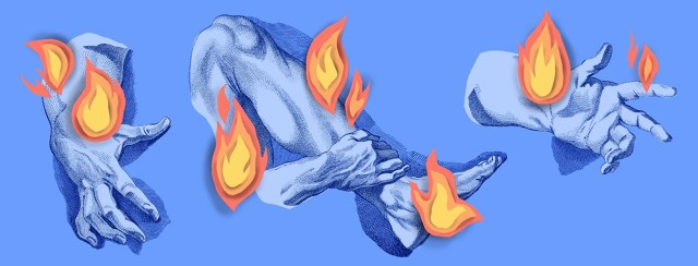 etchings of limbs such as hands and legs, all with cut-paper fire flames emanating from the joints