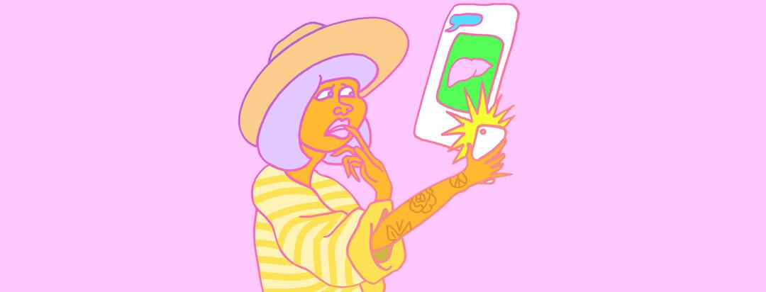 a millennial checks her phone with a liver damage update text