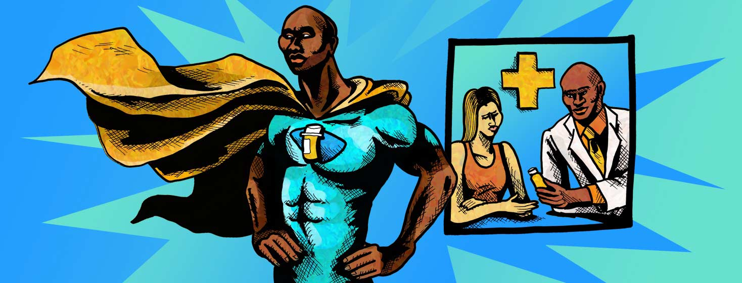 a super hero with a flowing cape has a bottle of pills emblem on his chest