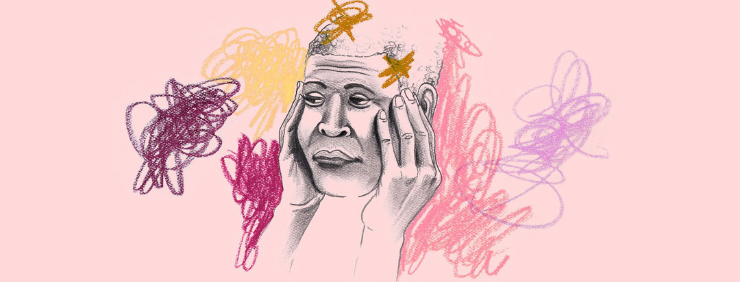 a woman in distress with her fingers pressed against her face is struggling with her new diagnosis