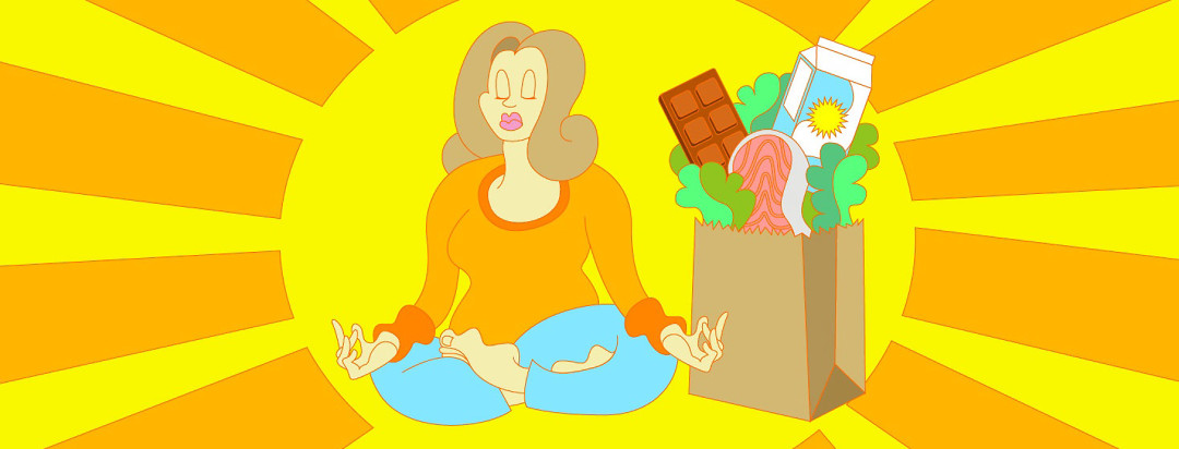a woman meditating next to a grocery bag of healthy foods