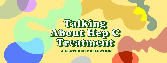 """swirls of color around text reading """"talking about hep c treatment"""""""
