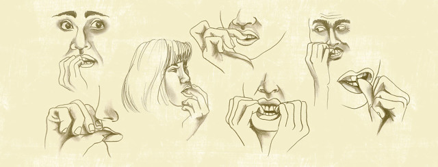 pencil sketches of multiple people biting their nails