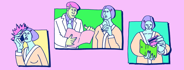 comic book style scenes of a patient and doctor, patient angry on the phone, and patient holding a credit card