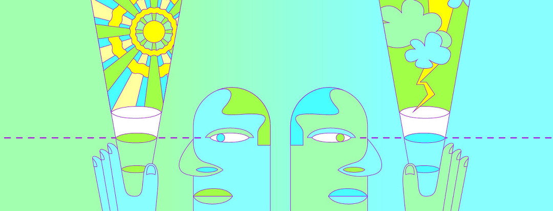 two figures stare at half full and half empty cups