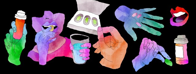 several water color hands holding pills