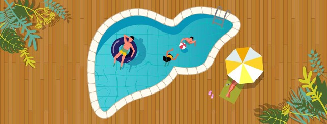 a family enjoying their outdoor liver-shaped-pool, soaking up sun and vitamin D
