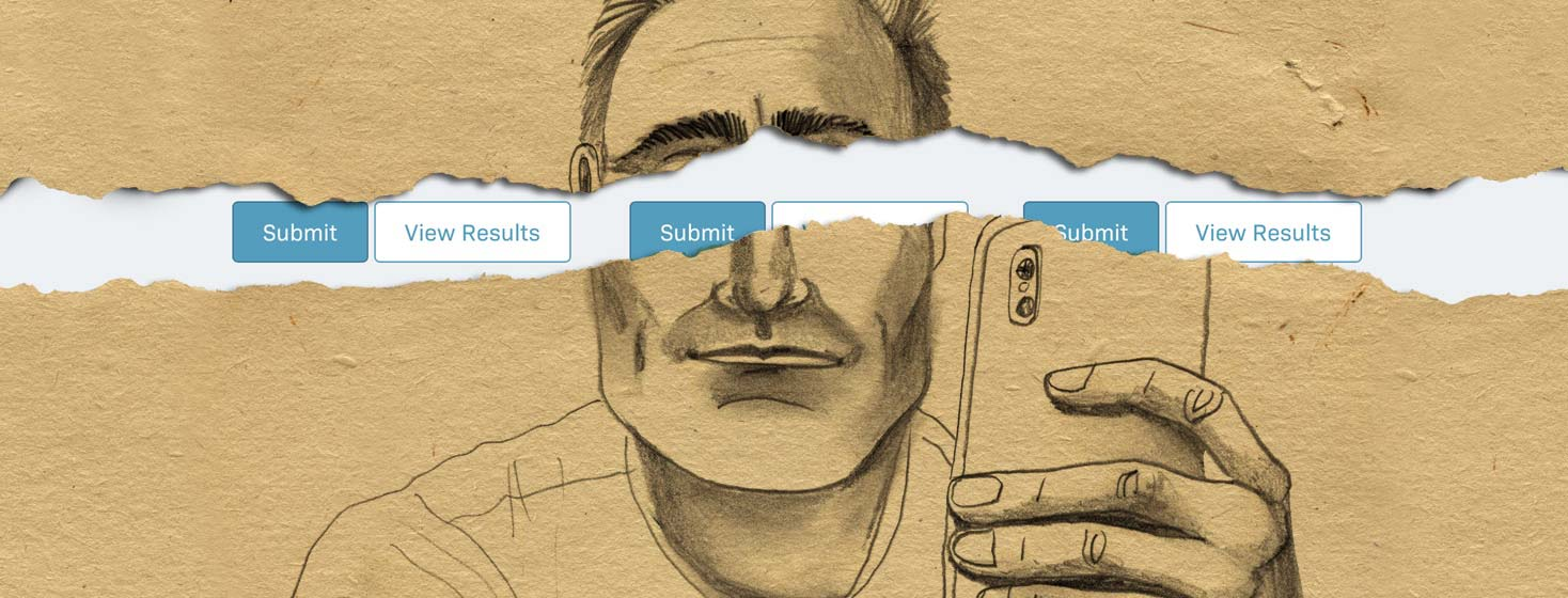 a drawing of a man is torn in half, behind revealing quiz buttons