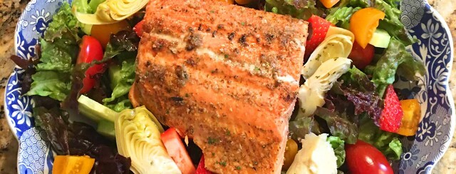 Summer Salad with Grilled Salmon image
