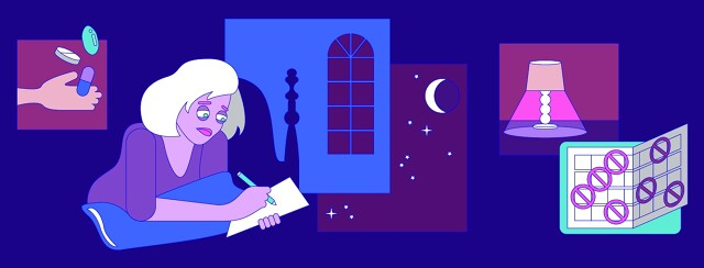a woman is up in the late night writing in her sleep journal because hep c affects her sleep