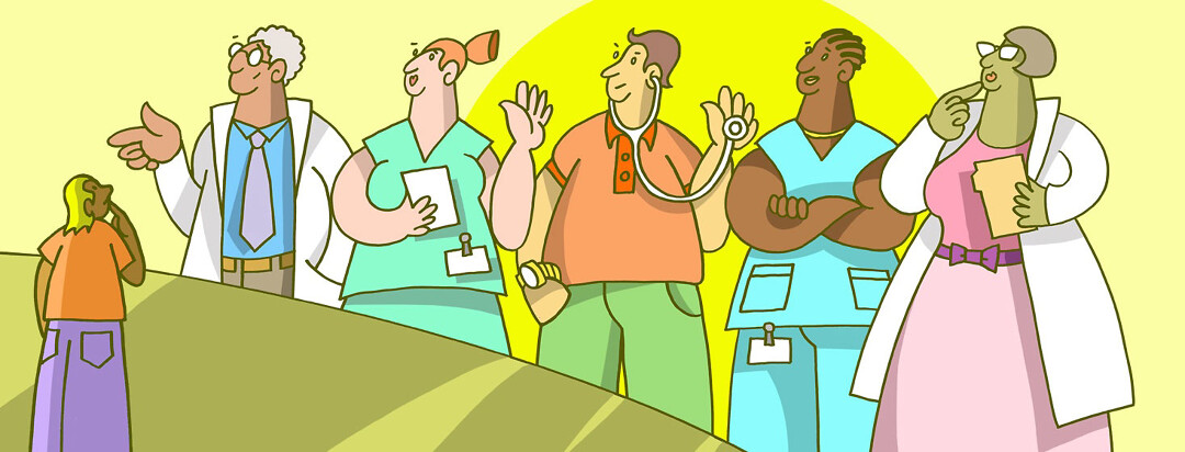 a lineup of varying doctors as the patient pick which one they think will best treat hepatitis C