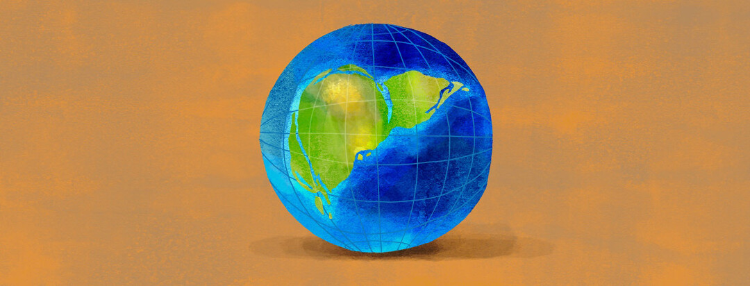 a globe has a landmass in the shape of a liver