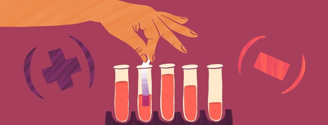 a row of blood vials as a hand tests each one for hep c