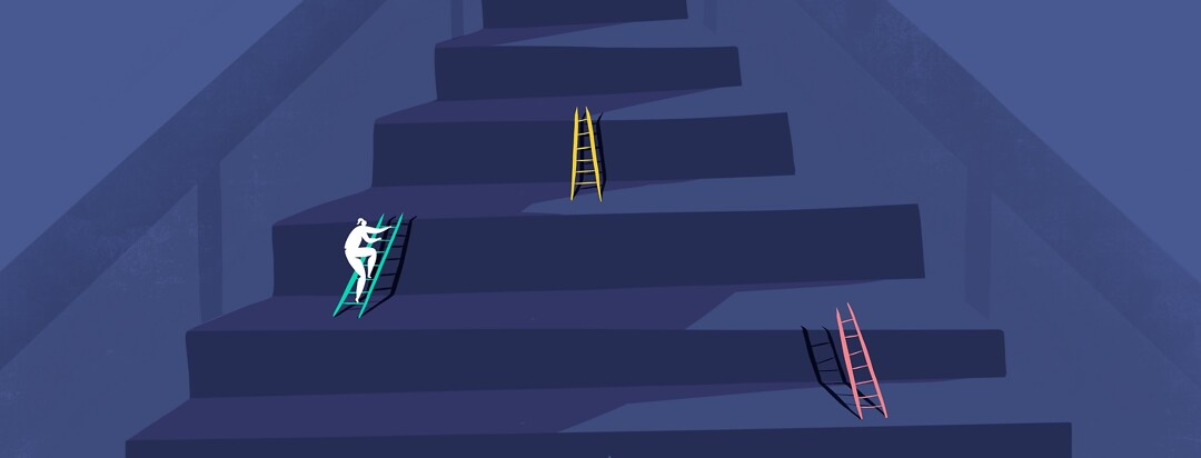 someone just diagnosed with hepatitis C is at the bottom of the stairs, each stair has a colorful ladder on it