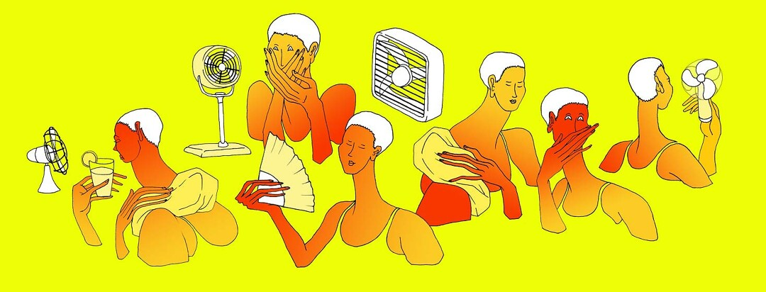 several images of the same woman with nausea, sweating and fanning herself