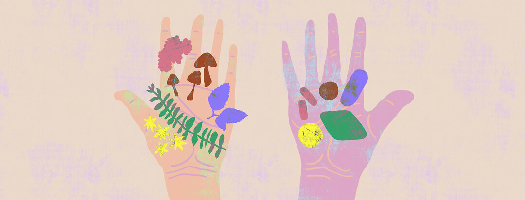 two hands holding natural treatments for hepatitis C