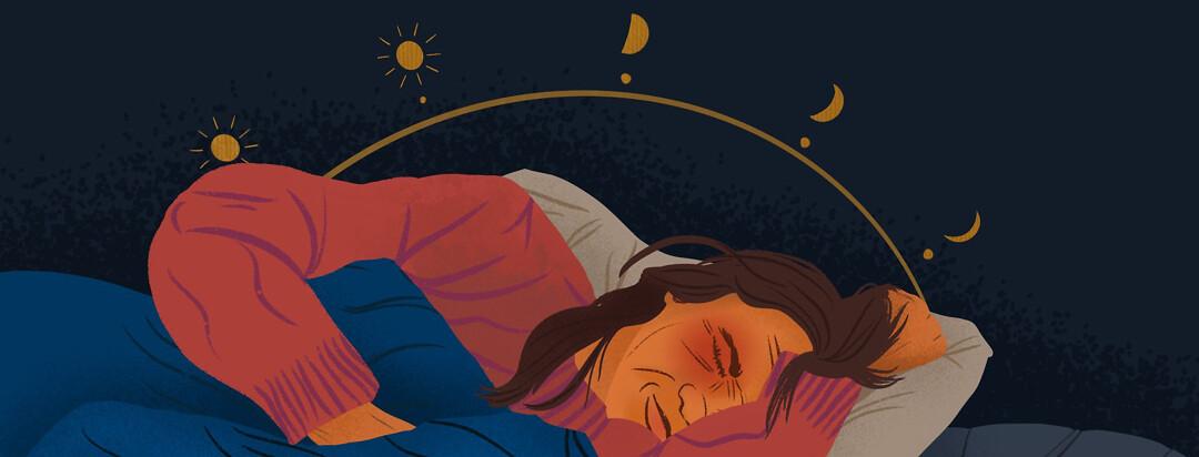 a woman asleep with the moon and sun cycle behind her, disturbing her circadian rhythm